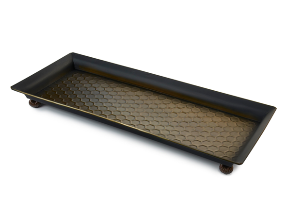 Footed Antique Bronze Finished Boot Tray