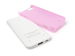 Ecopak iPhone 5 Battery Case - Wht/Pnk