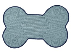 Light Blue Dog Bone Color Edge Rug - 3 Sizes