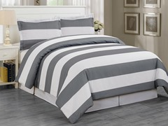 Delia Stripe Duvet Set-Grey-2 Sizes
