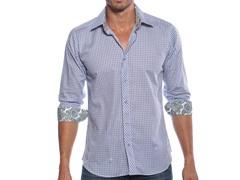 Jared Lang Dress Shirt, Blue/Paisley