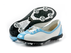 Women's Half Lace Golf Shoes, White/Blue