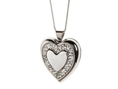 Edgewater Swarovski Crystal Heart Sterling Silver Locket