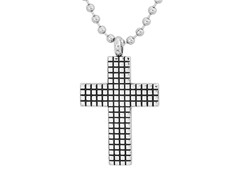 Stainless Steel Texture Cross Pendant