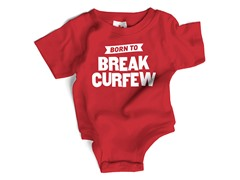 """Break Curfew"" Red Bodysuit (6-12 mos)"