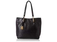 KC Bar Code Leather Tote, Black