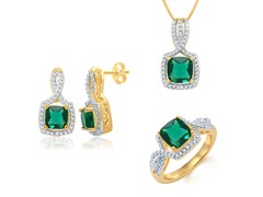 Diamond & Created Emerald Set