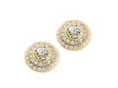 Sterling Silver CZ Halo Earring, Yellow