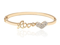 Gold/White Swarovski Elements Script Love Heart Bangle