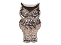 Nickel Plated Ceramic Owl