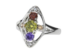 18k White Gold Plated Teardrop CZ Ring