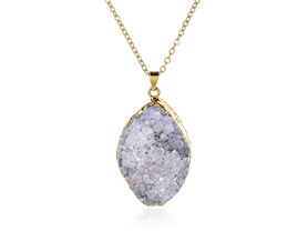 "Druzzy Stone Gold 18"" Necklace"