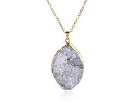 """Druzzy Stone Gold 18"""" Necklace"""
