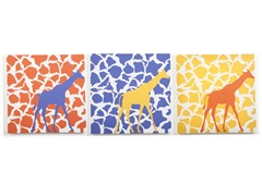 Rusty Giraffe Walk Canvas (Set of 3)