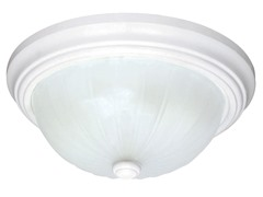 "1-Light 11"" Flush Dome, White"