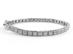Fancy White Gold Plated 4CTTW Diamond Cut Bracelet