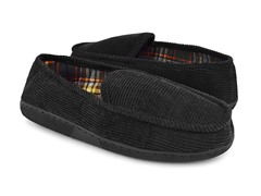 Corduroy Moccasin Flannel Lining, Black