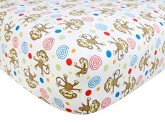 Monkey Print Flannel Crib Sheet