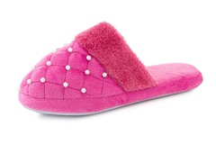 Women's Beaded Pearl Accent Slippers,Pnk