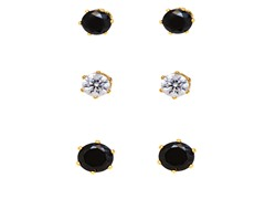 Black & White Crystal Medium & Big Stud Earrings Set of 3
