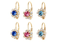 Aqua, Blue, & Pink Crystal Flower Set of 3 Huggie Earrings