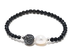 SS Black Onyx Gemstone Freshwater Pearl Crystal Ball Stretch Bracelet