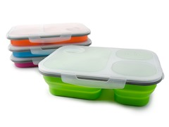 Three Compartment Lunch Box, 4-Pack