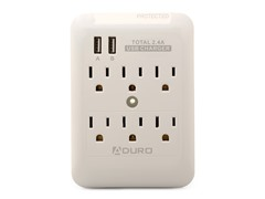Charging Station/Surge Protector w/6 outlets, 2 USB