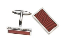 Sterling Silver Square Cufflinks, Red