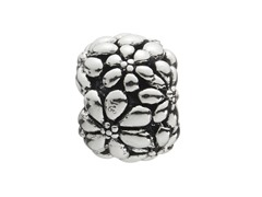 Sterling Silver Bead w/ Flowers