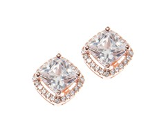 Sterling Silver, Square CZ Halo Earring, Large, Pink