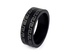 Black Ion Plated SS Greek Key Band