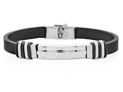 Men's Rubber Bracelet w/ Stainless Steel