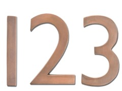 5-Inch House Numbers, Antique Copper