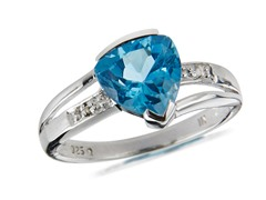 SS, Blue Topaz & Diamond Ring