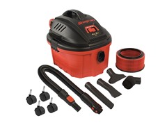 Snap-on Wet/Dry Vacuum, 4-Gallon, Red, Black