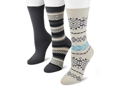 "MUK LUKS ® Women's ""Southwest"" 3 Pair-Pack Crew Socks"