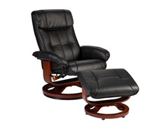 Recliner & Ottoman - Blk Bonded Leather
