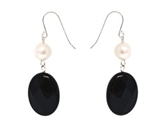 SS Pearl & Black Onyx Earrings