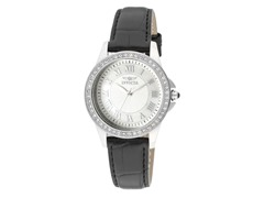 Invicta Angel White Crystal Black Leather