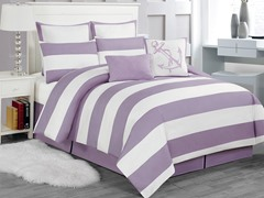 Delia Stripe 8pc Comforter Set-Purple-2 Sizes