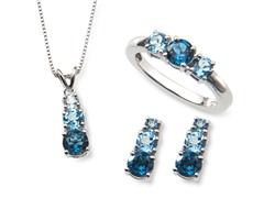 Sterling Silver & Blue Topaz Jewelry Set