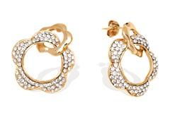 Gold Swarovski Elements Double Flower Earrings