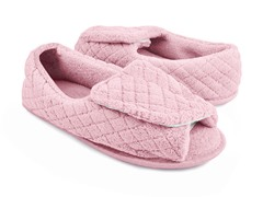 Micro-Chenille Adjustable Open Toe Full Foot Slipper, Light Pink