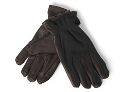 Men's Leather/Fleece Gloves-Black/Brown