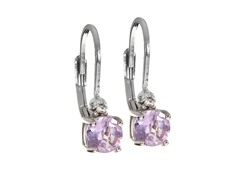 SS Amethyst Gemstone w/Diamond Leverback Earrings