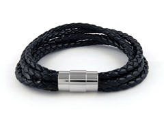 5 Tier Braided Leather Bracelet, Black