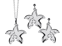 2-Flat Layered SeaStar Earring & Pendant