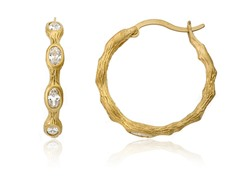 Riccova Retro 14K Gold Plated 3 Clear CZ Bamboo Hoop Earring