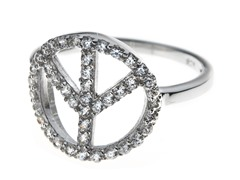 Sterling Silver and CZ Peace Ring